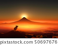 Sunrise and mouse silhouette of Mt. Fuji 50697676