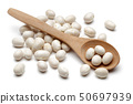 White haricot beans and wooden spoon isolated 50697939