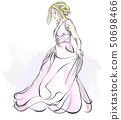 Walking Bride Watercolor Drawing 50698466