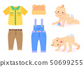 Baby and Clothes to Wear, Kid in Diaper Isolated 50699255