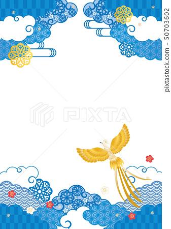 배경 소재 - 푸른 수화 무늬, 봉황 3 50703602