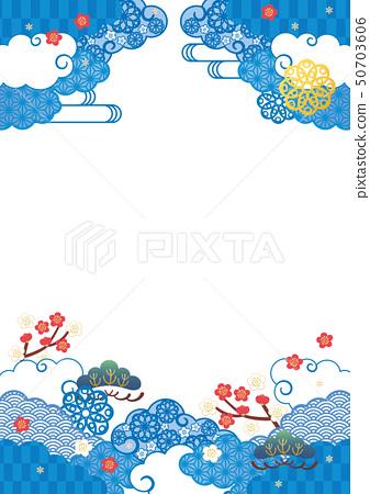 배경 소재 - 푸른 일본식 디자인 3 50703606
