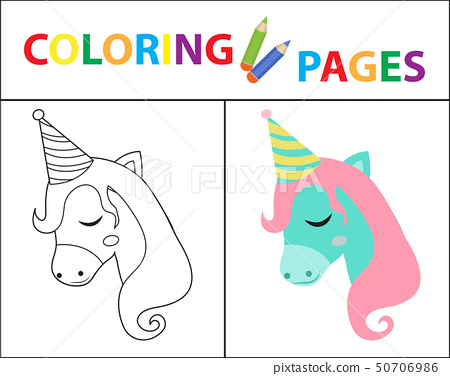 Coloring book page for kids. Birthday unicorn. Sketch outline and color version. Childrens education 50706986