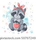 Postcard cute raccoon with heart. Cartoon style 50707249