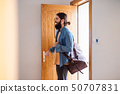 Young hipster man with bag entering front door when coming back home. 50707831
