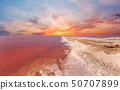 Sunset pink salty Syvash Lake, Ukraine 50707899