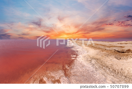 Sunset pink salty Syvash Lake, Ukraine 50707899