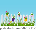A wooden fence, a hedge near with a flower bed. 50709317