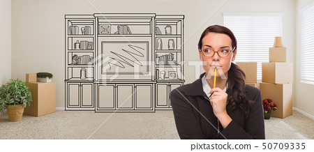 Woman Inside Room With Moving Boxes Glancing Up 50709335