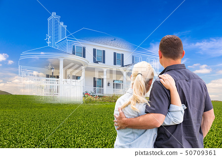 Couple Facing Ghosted House Drawing and Photo  50709361