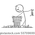 Vector Cartoon of Man or Businessman Searching Something in Scrap Basket or Dustbin 50709699
