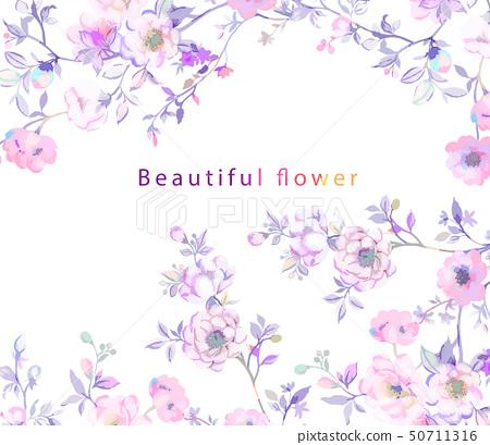 優雅的樹枝和花卉插畫 50711316