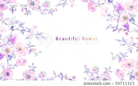 优雅的树枝和花卉插画 50711321