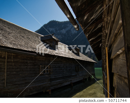 Boathouse on the shore of Lake Koenigssee 50711744