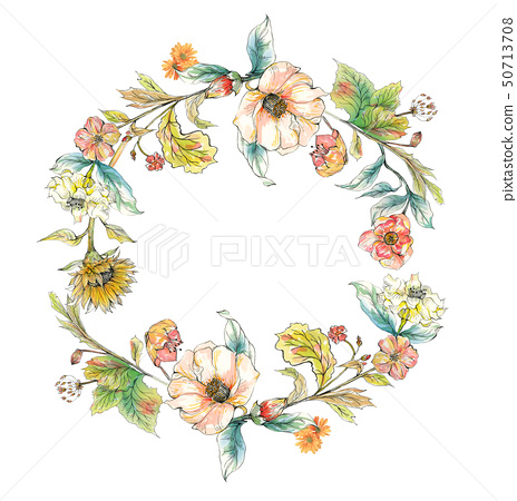 線描水彩花卉組合 50713708