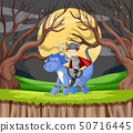 Knight and dragon in forest 50716445