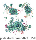 Set of floral succulents compositions in hand draw 50718150