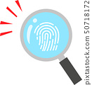 Fingerprint magnified with a magnifying glass 50718172