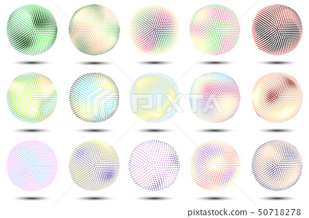 Vector set of colored 3d spheres.Halftone effect. 50718278