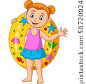 Cartoon little girl with inflatable ring 50720024