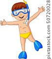 Cartoon boy diving with snorkeling gear 50720028