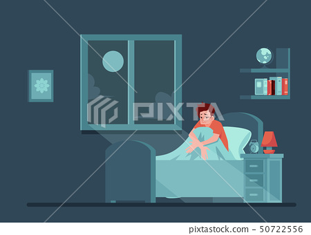 Vector unhappy man with insomnia in bed 50722556