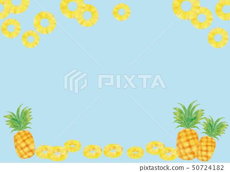 水彩風格鬆與葉和框架的鍊式松(藍色背景) 50724182