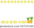수채화 풍 잎 대해서 소나무와 둥글게 파인 심플한 프레임 50724184