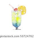 여름 열대 음료 칵테일 수채화 일러스트 50724762