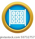 Cubes with numbers on playground icon blue vector isolated 50732757