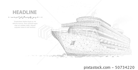 Ship. Abstract vector luxury ruise liner ship on dark blue night sky background with dots, stars. 50734220