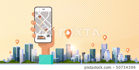 human hand using online ordering taxi car sharing mobile application concept transportation 50734399