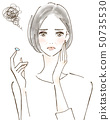 過敏眼睛煩惱由於花粉熱而不能戴隱形眼鏡的女性 50735530