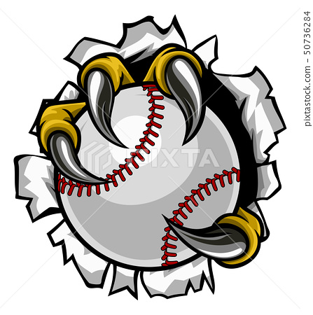 Baseball Ball Eagle Claw Talons Ripping Background 50736284