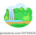 Waterfall Lake, Nature with Greenery and Trees 50736926