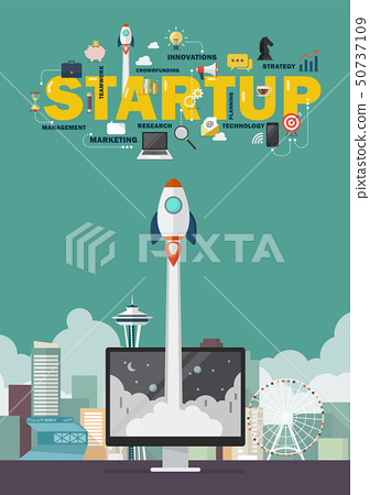 Rocket launching from computer monitor startup 50737109