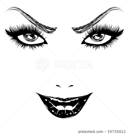 Happy woman face in black and white 50738822