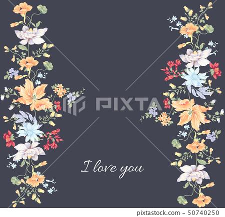 다채로운 수채화 꽃 조합 및 초대 카드 디자인 50740250