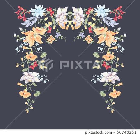 顏色豐富的水彩花卉組合和邀請卡設計 50740251