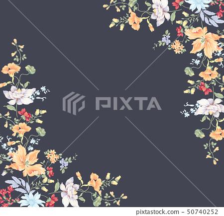 다채로운 수채화 꽃 조합 및 초대 카드 디자인 50740252