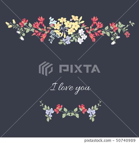 아름다운 수채화 장미 및 초대장 카드 디자인 50740989