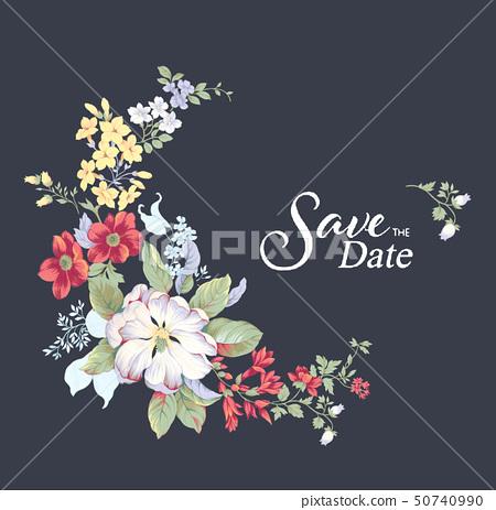 美麗的水彩玫瑰花和邀請卡設計 50740990