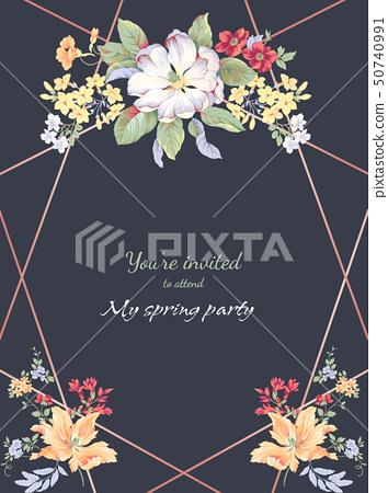 美麗的水彩玫瑰花和邀請卡設計 50740991