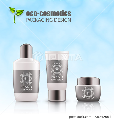 Set of realistic green glass bottles eco cosvetic 50742061