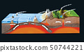 Ground cross-section to explain subduction 50744221