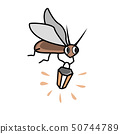 Cute cartoon firefly with flashlight. Character vector Illustration 50744789