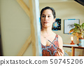 Young Woman As Artist Painting At Home For Art Creativity 50745206