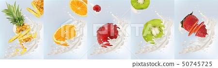 Realistic fruits kiwi, orange, pineapple, raspberry, strawberry with milk splashes close up. 3d 50745725