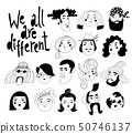 Vector design with we all are different lettering and different people avatars or portraits 50746137