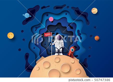 Astronaut with Flag on the moon 50747386